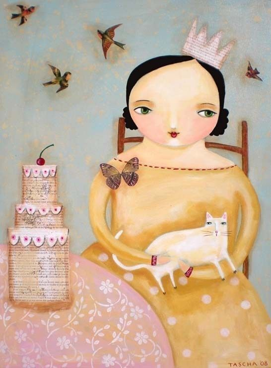 CAKE party with white cat PRINT from collage folk art painting by TASCHA 5x7. $15.00, via Etsy.