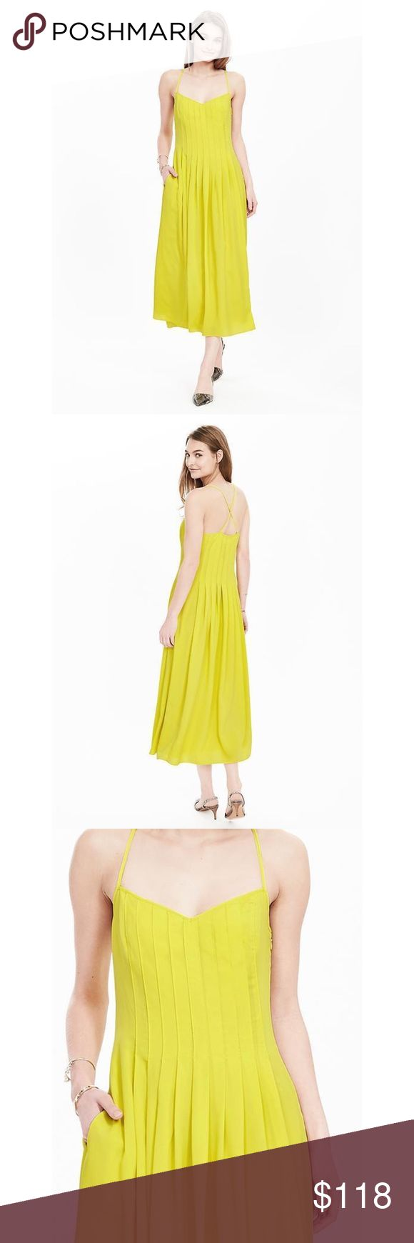 Banana Republic pintuck maxi dress - neon yellow Banana Republic pintuck maxi dress - neon yellow. NWT! Features strappy back, pleated bodice, drop waist and pockets! True to size. Banana Republic Dresses