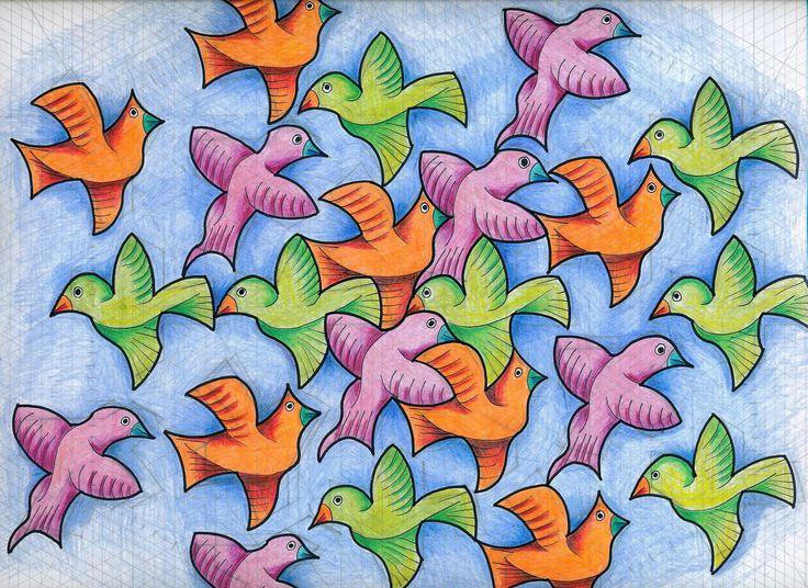 #tessellation #tiling #wallpaper #handmade #birds #Escher #isometric #mathart #regolo54 #symmetry #geometry
