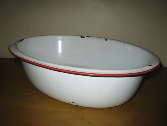 Very Vintage 40s Enamelware Oval Wash Pan Dish Pan 18 Quot X