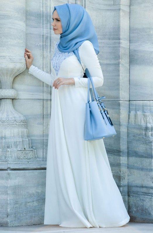 Muslima Wear Lale Desenli Elbise 35004 Mavi | Yeni Sezon Muslima Wear tesettür elbise modelleri Fulyan.com 'da on We Heart It