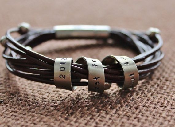 I love this.  I have no idea what message I would put on the twisting metal band, but I think this bracelet is awesome, the use of metal and leather together is sublime.