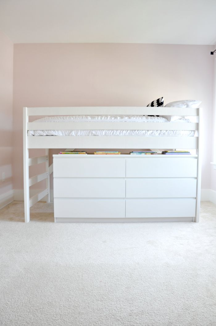 DIY Junior Loft Bed with Ikea Malm Dresser underneath - great use of space for a kid's room!