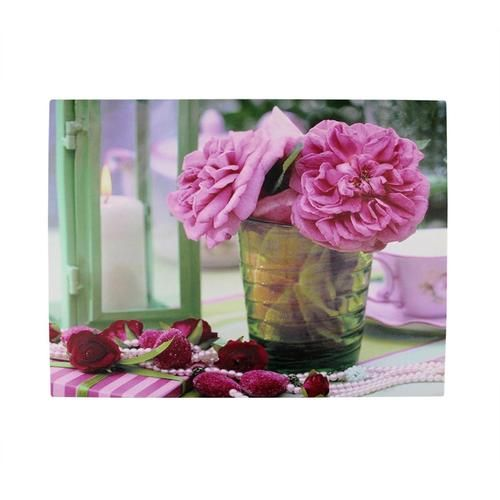 "LED Lighted Flickering Candle and Pink Rose Flowers Glass Candles Canvas Wall Art 11.75"""" x 15.75"""""