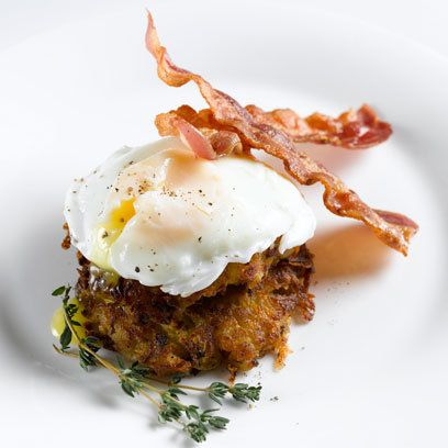Swede Rosti with poached eggs and crisp bacon