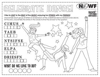 Join In On The Fun!  Dance studio owners and teachers -- Have some fun during National Dance Week! Print the following coloring page and have your students hang their completed page in your studio. Snap photos of your dancers' pages and share them with on social media. Encourage your students to snap a photo and tweet!