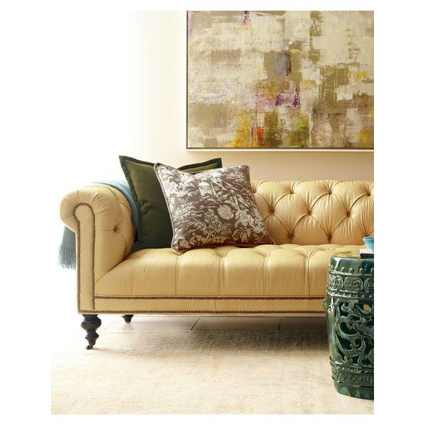 Old Hickory Tannery Leather Sofa by Morgan Sunshine TuftedLight Yellow ($2,999) ❤ liked on Polyvore featuring home, furniture, sofas, tufted couch, yellow leather furniture, yellow leather couch, colored leather sofas and tufted sofa