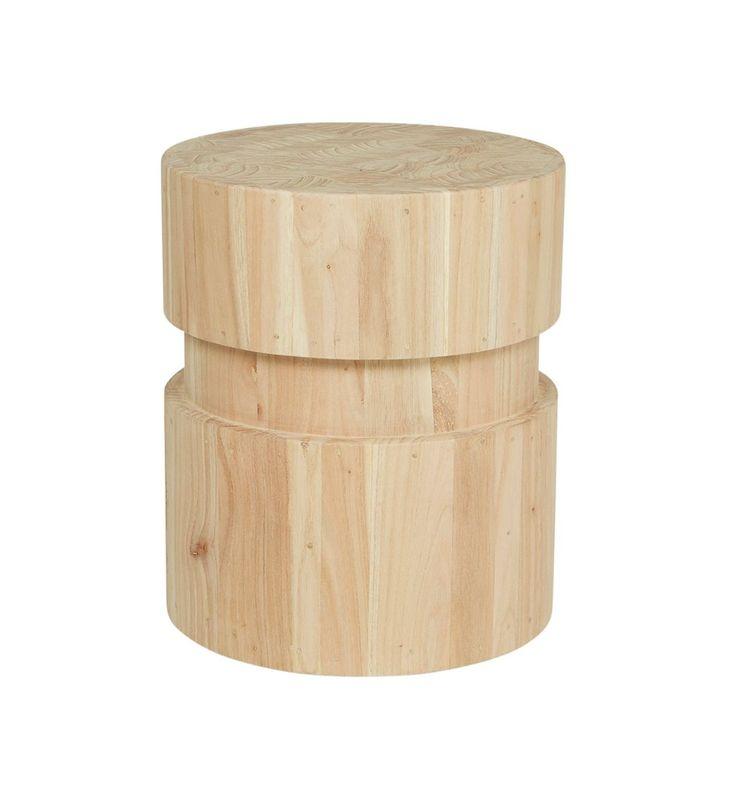 Woodrow Drum Stump Marble Round Coffee Table Woodrow