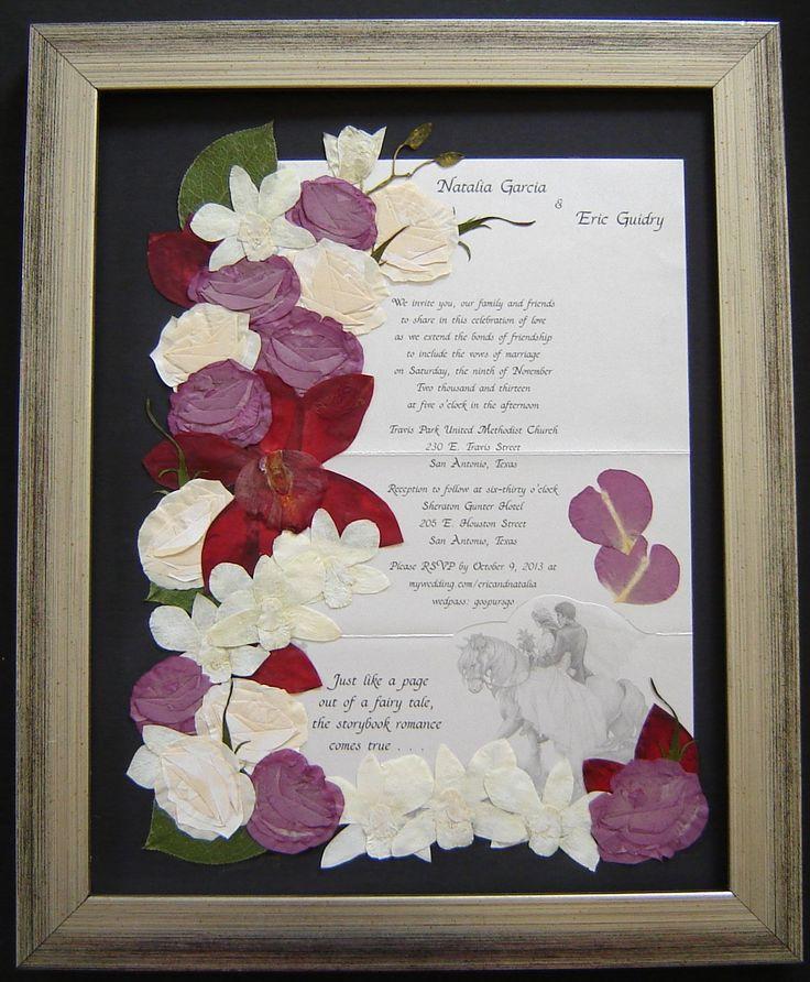 Wedding Bouquet Preserved Around Invitation Pressed Flower Art Garden Www Pressedgarden Blo Pinterest