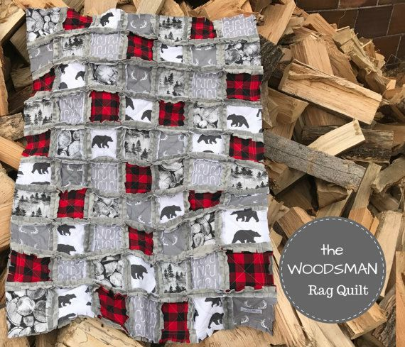 The WOODSMAN Baby Rag Quilt  Exclusively from OCKBaby  by OCKBaby
