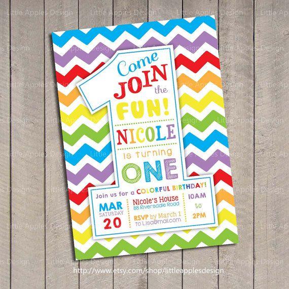 Invitación del cumpleaños del arco iris / invitación de arco