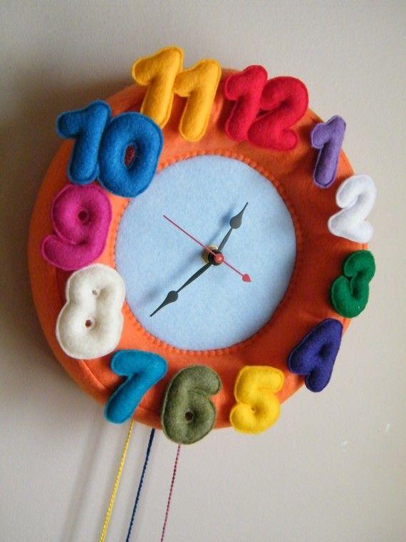 Children Wall Felt Clock - Round Orange