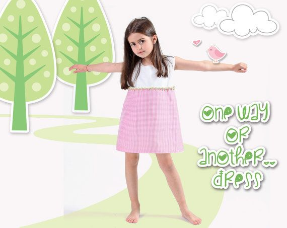 Handmade reversable girl's dress // checkers pink to by LaLoOLa