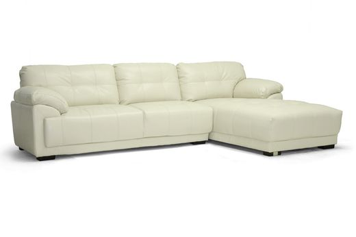 Wholesale Interiors Baxton Studio DeCarlo Cream Leather Modern Sectional Sofa with Right Facing Chaise