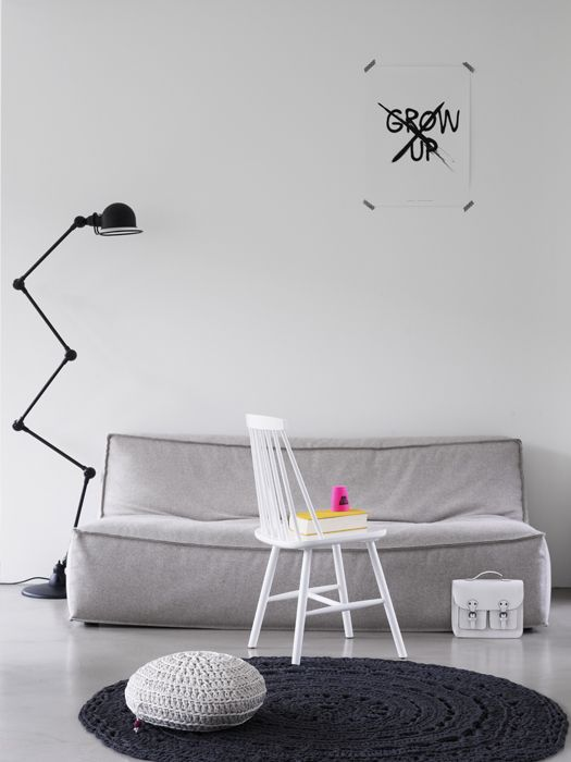 .Lamps, Black N White, Inspiration, Interiors, Living Room, Black White, Comfy Couch, Crochet Rugs, Industrial Design