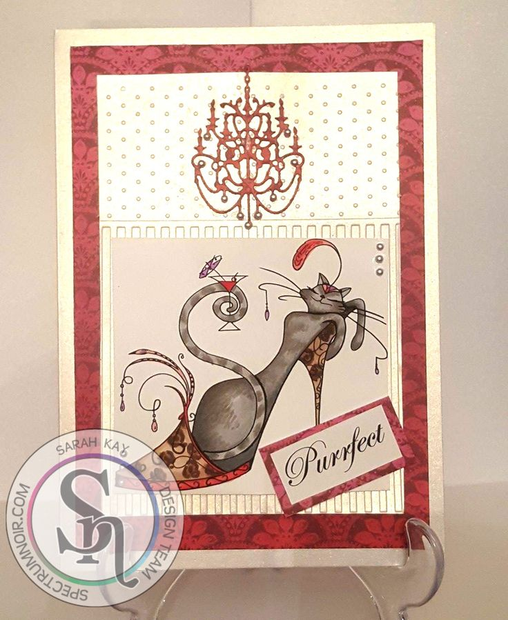 A5 fold card, by Sarah Kay, using Centura Pearl hint of gold, Cattitude papers, dies, stamps and Spectrum Noir Illustrator pens. Pens used for image - PP5 -Fruit Pink, Flame Red- CR11, Dark Brown-EB7, Natural Brown-EB2, Soft Brown-MB2, Ice Grey-IG2, Blue Grey 3-BGR3, Brown Grey-BG2, Lilac-HB1. #spectrumnoir #crafterscompuk #catitude #handmade #card #stamping #colouring