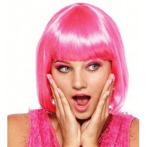 Perruque courte rose femme, Perruque rose pink femme, réveillon du 31 déc, nouvel an, fêtes, carnaval.