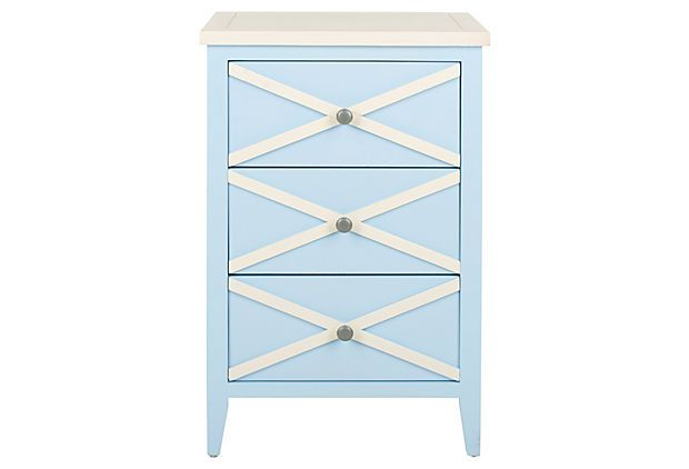Penelope Side Table, Light Blue/White on OneKingsLane.comGuest Room, Beach Bedrooms, Coastal Side, Night Stands, Lights Blue Whit, Bedrooms Decor, Nantucket Style, King Lane, Cream Accent