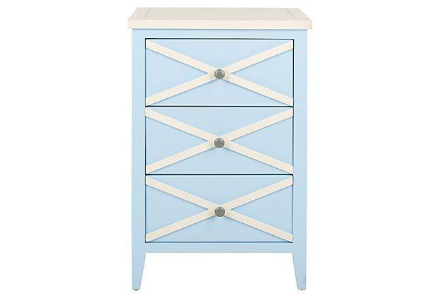 Penelope Side Table, Light Blue/White on OneKingsLane.com