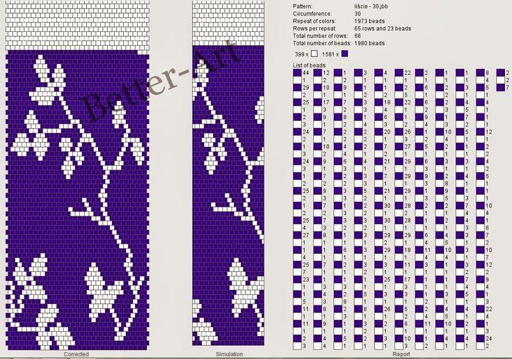 Magia Koralików: Liście na gałązkach - nowy wzór na sznur