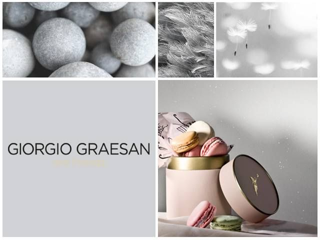 Morbido e sofisticato, il grigio è davvero considerato un classico in tutto il Mondo, sarà grazie alla sua delicatezza così neutra. In basso a destra dei deliziosi macarons davanti ad una scintillante parete di Via Lattea.  Soft and elegant, #grey is considered as a classic Worldwide, probably thanks to its neutral daintiness. Photo on bottom right, some delicious macarons in front of a glittering wall made with #ViaLattea.    #lepitture #romantic #walldecoration #giorgiograesan #Ladurée