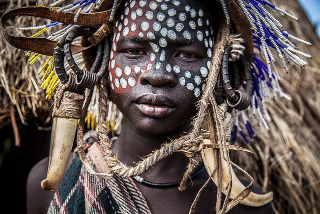 Young boy with face painted, Mursi Tribes, Lower Omo Valley, Ethiopia by ronnyreportage, via Flickr