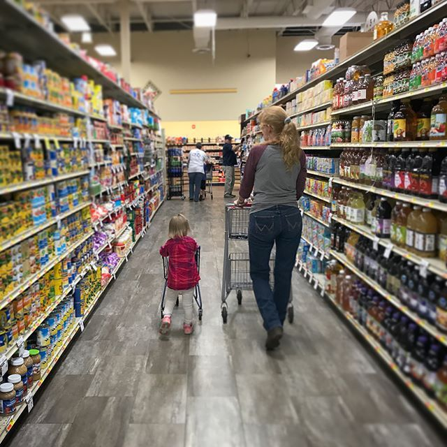 """""""...I know Papa likes Starbucks k cups, but I'm more of a Maxwell House kind of a girl"""" - Indy grocery shopping today w her Aunt Marcy."""