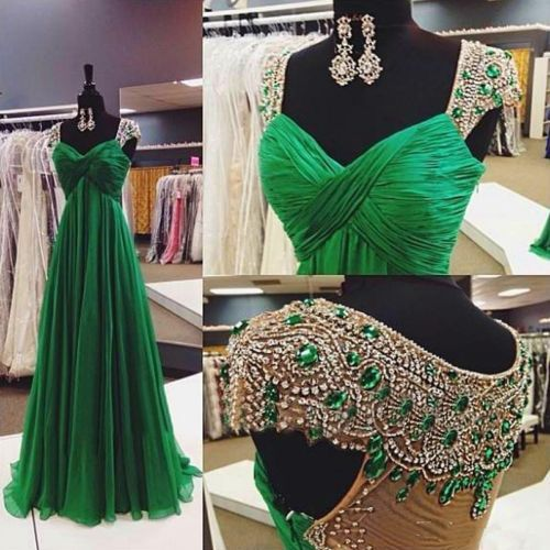 GET THIS IN ALL BLACK EVERYTHING Emerald-Green-Crystal-Cap-Sleeves-Chiffon-Long-Evening-Dress-Formal-Prom-Dresses
