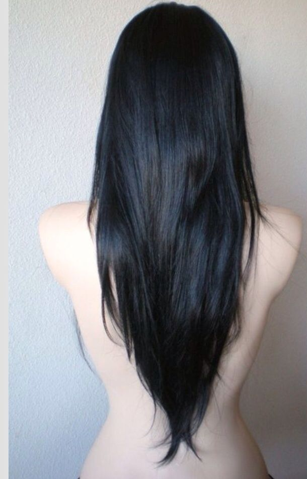 Long V Haircut ... This is how I want my hair just not this black. More is a black brown.