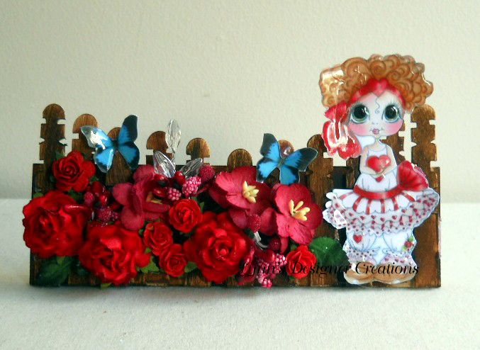 Little Girl Picket Fence in Red for Cards, Mini Albums or Frame | Lynn's Designer Creations | madeit.com.au