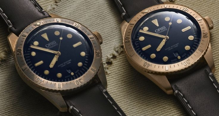 """Oris Carl Brashear Limited Edition Dive Watch - by James Stacey - see more on aBlogtoWatch.com """"With their new Carl Brashear Limited Edition dive watch, Oris pays tribute to the U.S Navy's first African-American Master Diver, the thoroughly impressive Carl Brashear. With a classic and clean diver aesthetic rendered in bronze, this limited edition piece expands upon the success of the Oris Divers Sixty Five, which was announced at Basel last march..."""""""