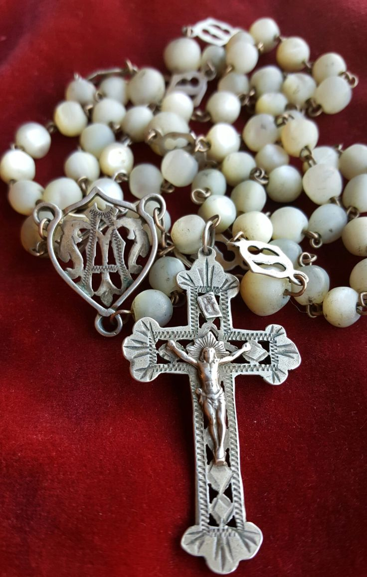 Antique Spanish Rosary Art Nouveau Rosary Mother of Pearl Sterling Silver Catholic Gift Religious Gift Catholic Jewelry Religious by SacredBarcelona on Etsy https://www.etsy.com/listing/501580719/antique-spanish-rosary-art-nouveau