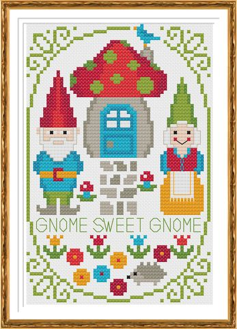 Gnome-Sweet-Gnome Cross Stitch Pattern Instant Download