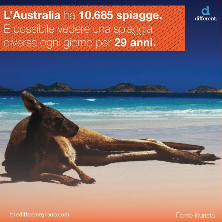 La costa del continente australiano ospita spiagge sabbiose, scogliere e paludi di mangrovie per un'estensione di più di 30.000 km e, se si aggiungono le isole, il numero sale a 47.000. La Coastal Studies Unit dell'università di Sydney ha contato esattamente 10.685 spiagge in Australia. È possibile vedere ogni giorno una spiaggia diversa per 29 anni.