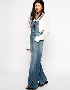 Free People Flared Dungarees with D Ring Detail