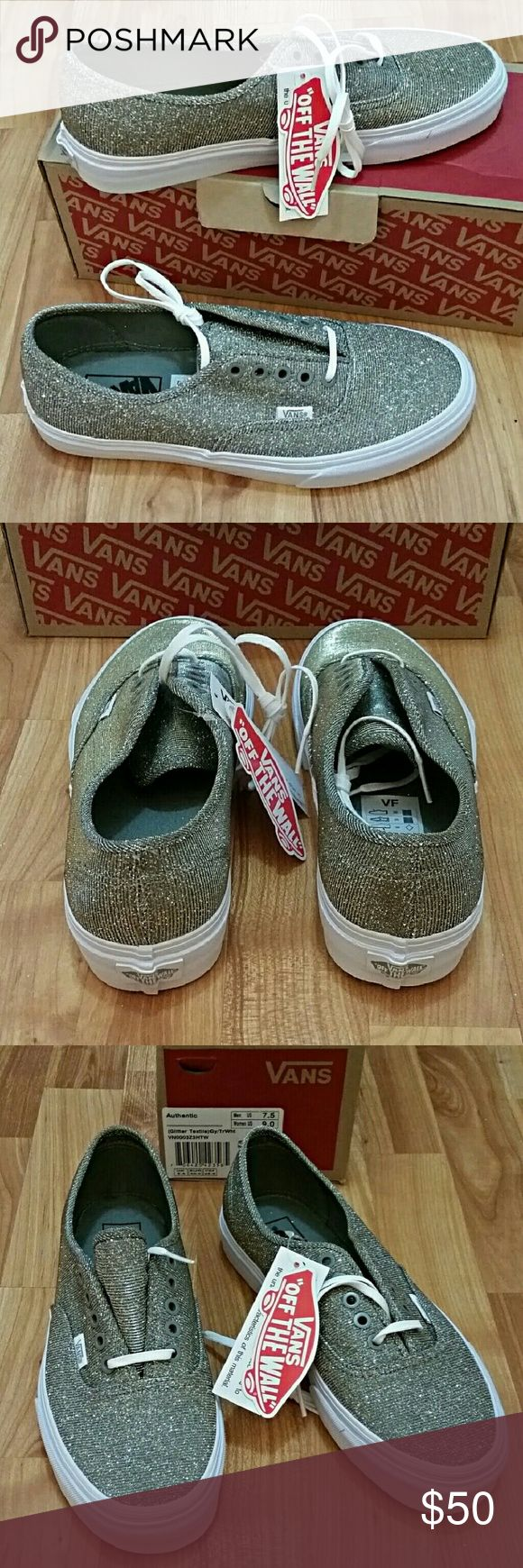 Gold Glitter Vans Classics Gold Glitter Vans Authentics. So fun and unique! Brand  new with box. Vans Shoes Sneakers