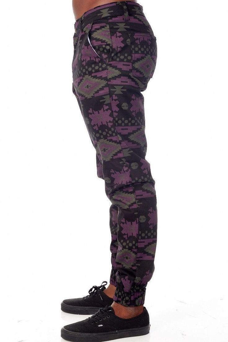unusual aztec print cotton lazy drop dead oaf joggers all saints 33 inch waist | eBay