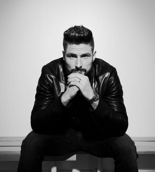 Olivier Giroud poses for the Arsenal Magazine #hot #arsenal #beard #frenchie