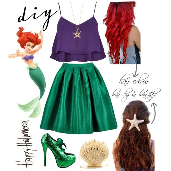 DIY Ariel Halloween Costume by avonsblessing94 on Polyvore featuring River Island, Viva Bordello, Charlotte Olympia, Elsa Peretti, Disney and DIYHalloween