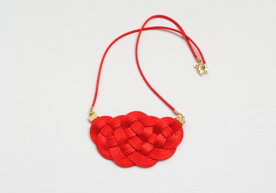 Red and gold sailor knot necklace gold-plated by elfinadesign