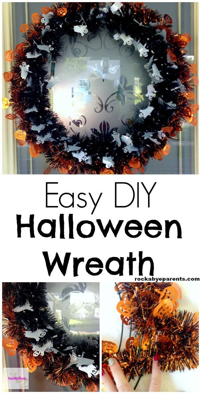 Easy DIY Halloween Tinsel Wreath
