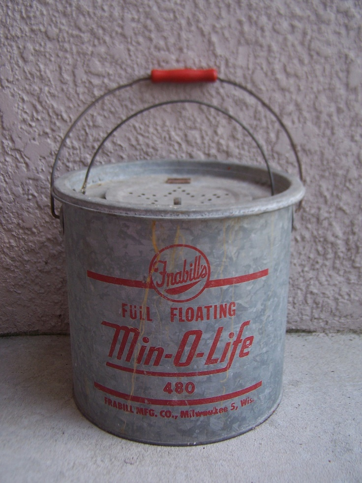12 best vintage bait and minnow buckets images on for Ice fishing bucket