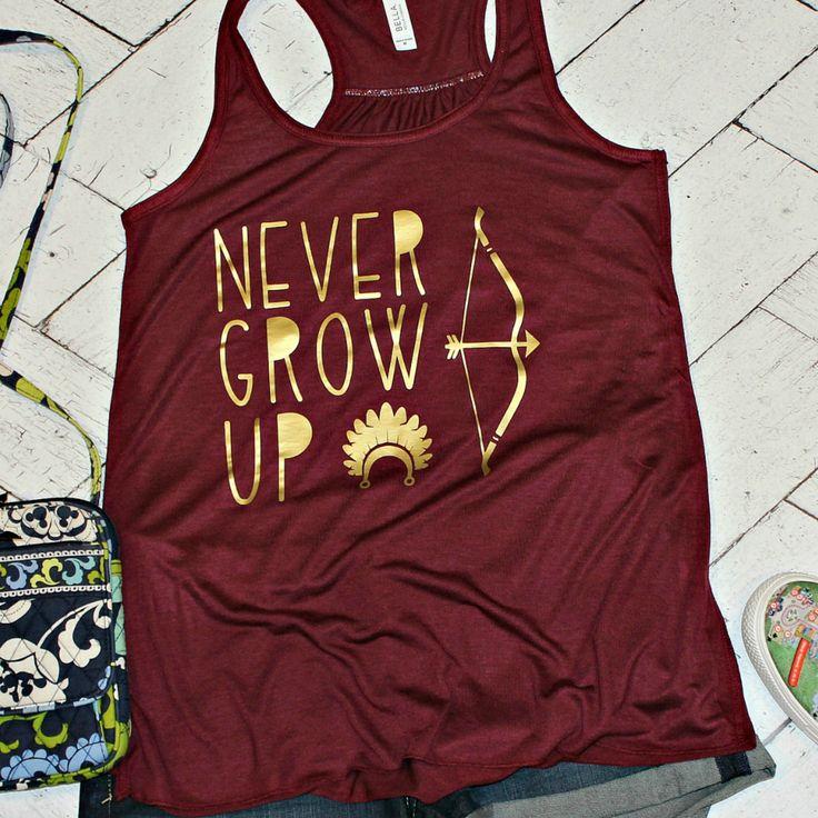 Never Grow Up Flowy Racerback Tank Top