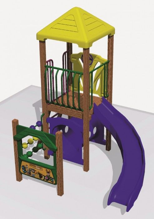 1200 Curved slide and activity module.  Includes ground-level activities such as Abacus, Shop Counter & Tunnel for the little ones as well. #PlaygroundCentre #PlaySpace #PlayGround #Fun #PlaygroundSlides #Slides #Paeroa