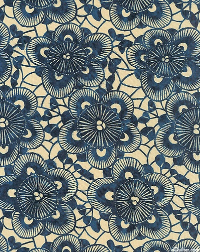 Natural, Tea-Dye, Sapphire, Marine, Midnight  Designed to resemble the traditional Japanese resist dye technique known as katazome, this lovely print has the appearance of shaded dyes pressed through an intricate stencil.