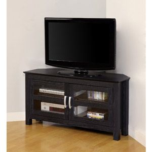 "Black Wood Corner TV Stand, for TVs up to 52"" Stylish, space-saving corner design Rich, black textured finish High-grade MDF & laminate construction Solid & sturdy to support up to 250 lbs. Accommodates most flat-panel TVs up to 52 in. Double doors with tempered, glass panes Two interior shelves Ample storage space for A/V components Ships ready-to-assemble w/ necessary hardware & tools Assembly instructions included w/ toll-free # & online support Dimensions: 44"" W x 16"" D x 24"" $132.97"