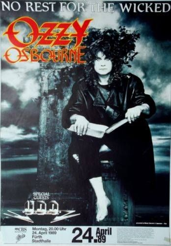 Ozzy Osbourne No Rest For The Wicked tour concert poster