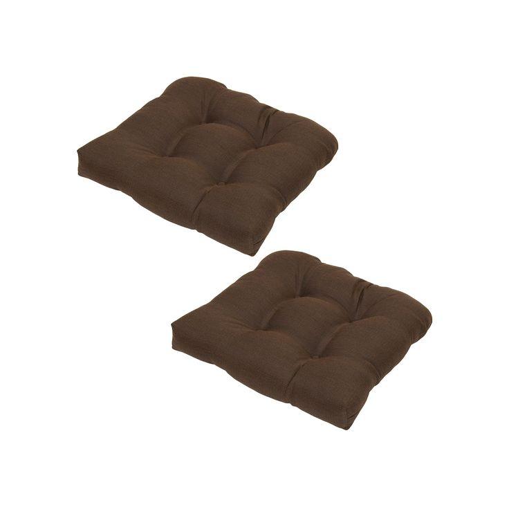 Plantation Patterns Espresso Texture Tufted Seat Pad 2-piece Set, Brown