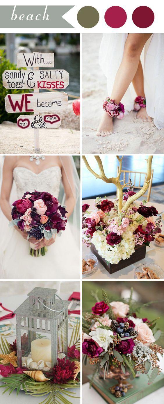 2017 summer beach wedding ideas in color burgundy