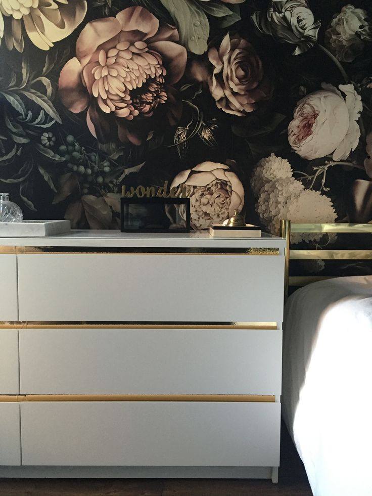 Malm dresser hack, gold detail, Ellie cash man wallpaper